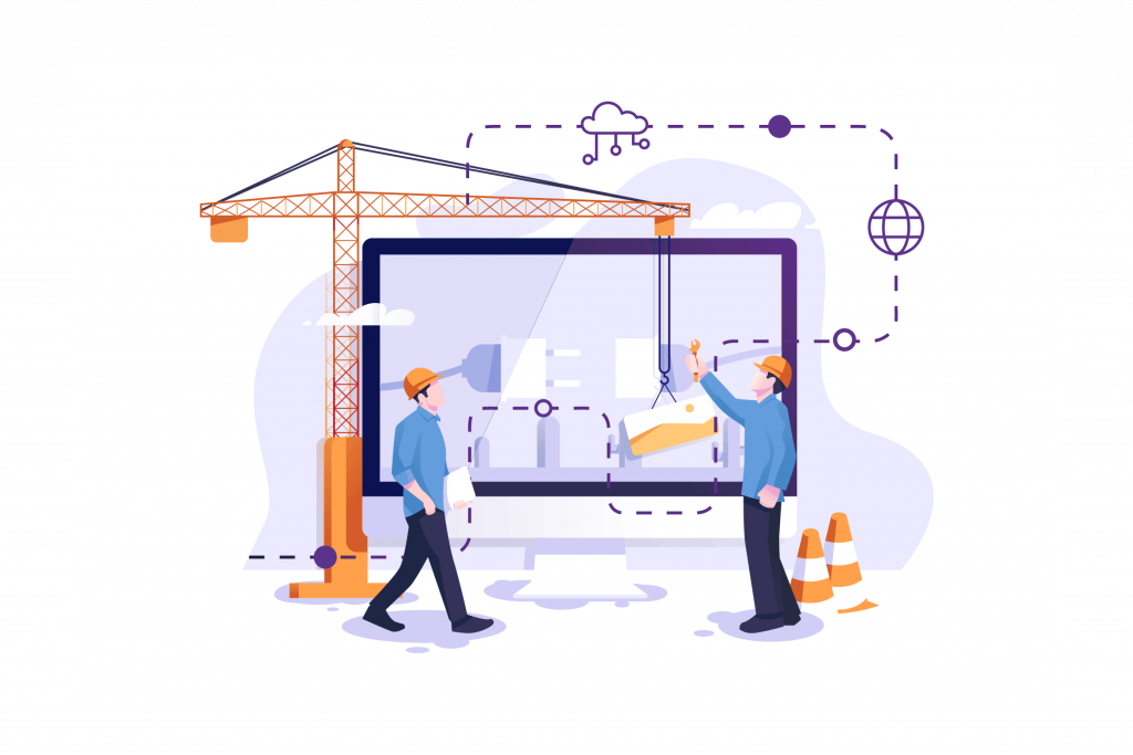 Collaboration of two individuals on a project - illustration