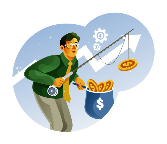 Businessman measuring money