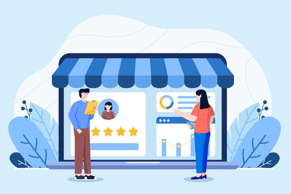 Digital Marketing Shop Online illustration