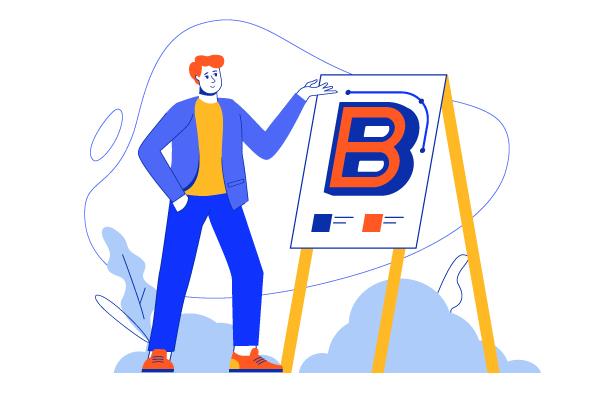 Man drawing letter B on board for branding