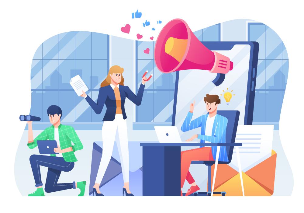 Social media agency team in an office