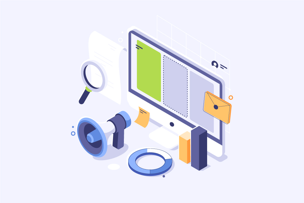 computer screen and some other tools, representing marketing tools