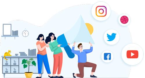 Biys and girls handling social media platforms