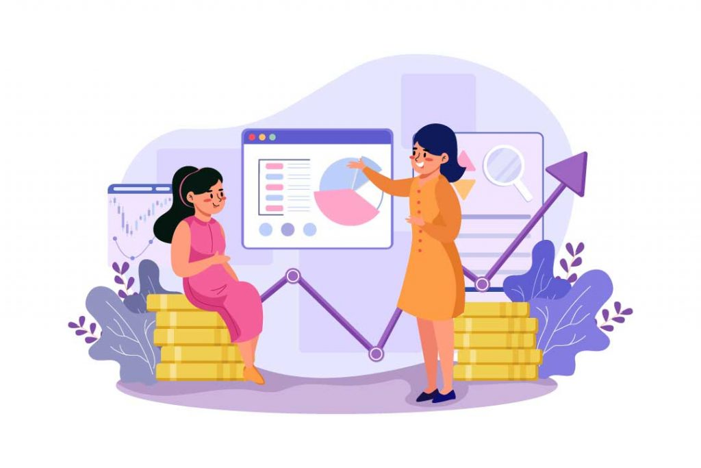 Two women at work going through a growth report