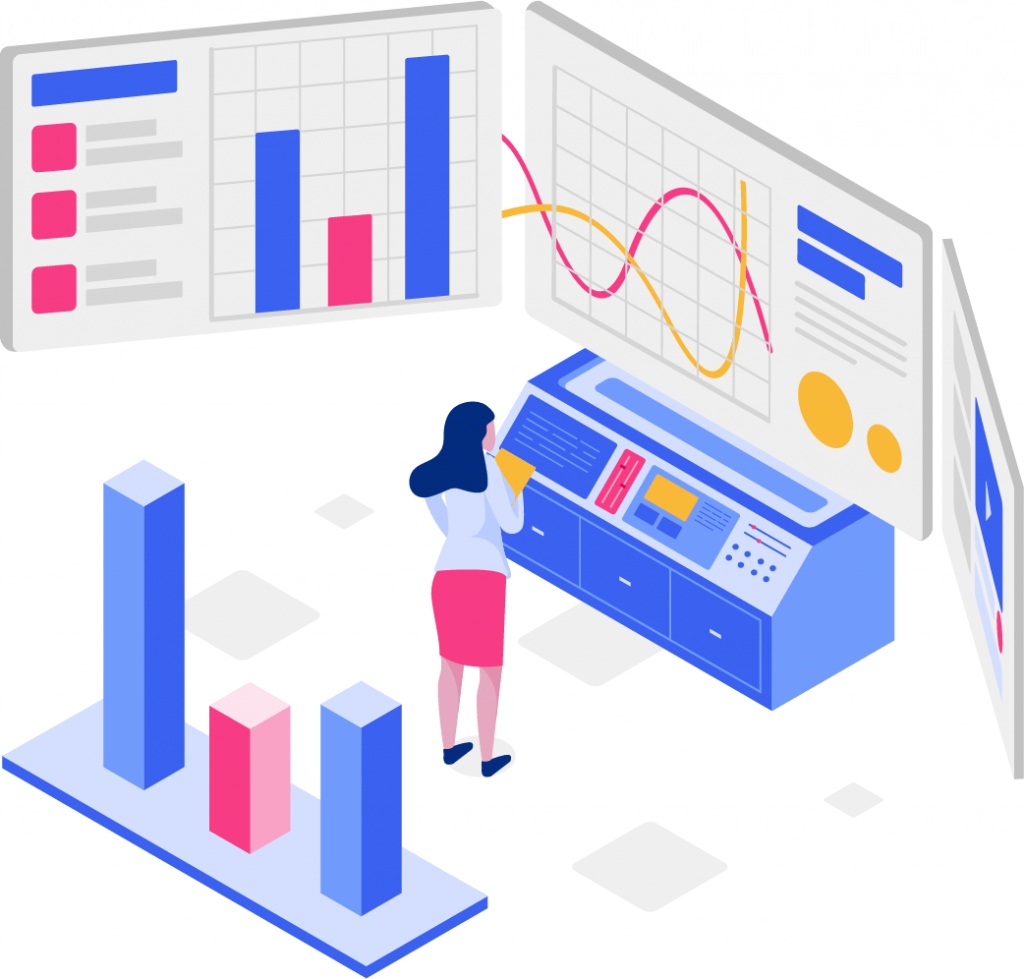 Illustration of a girl checking screens for reports