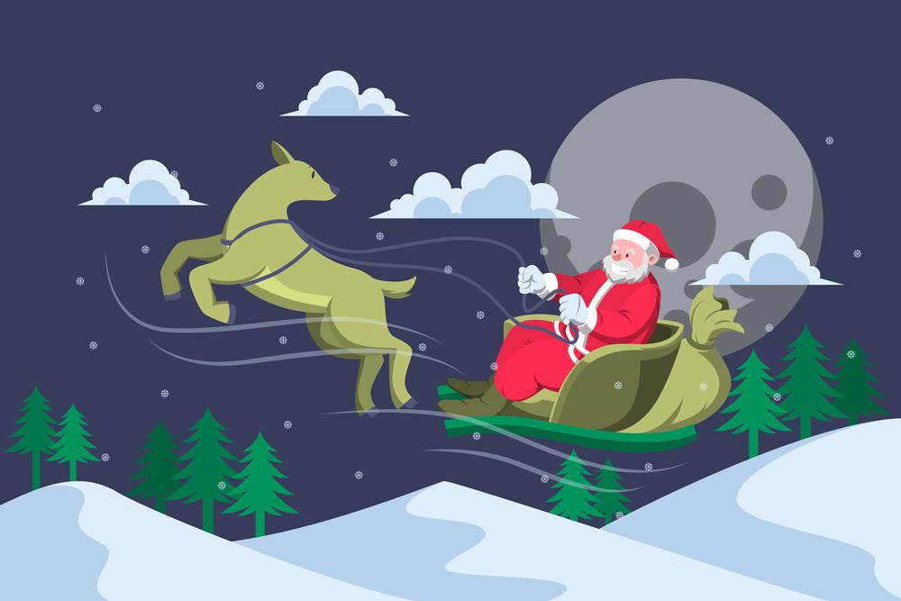 Santa-Riding-Sleigh